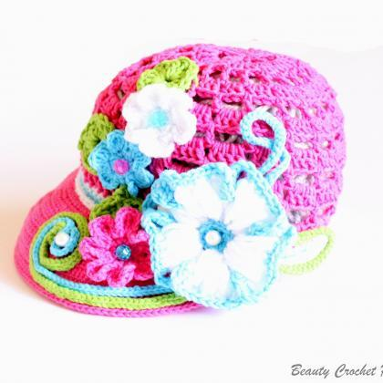 Crochet Newsboy Hat Pattern Crochet Newsboy Visor Beanie Pattern