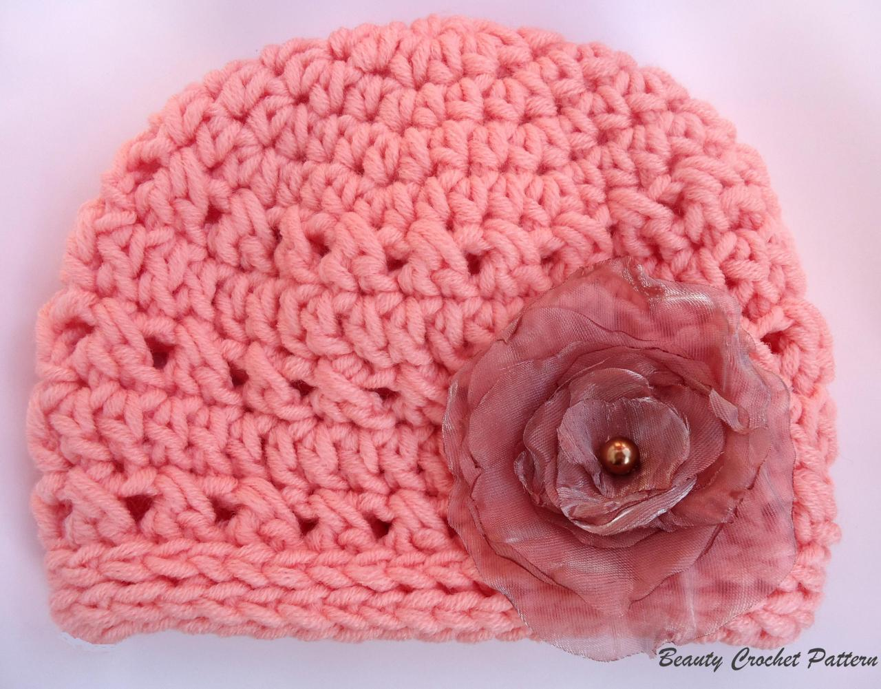 Crochet Cloche Chunky Hat With Organza Flower Peach Pastel Color ...