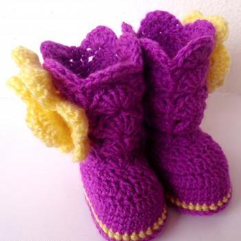 Crochet Baby Girl Boots Pattern, Crochet Baby Booties Pattern, Crochet Baby Girl Shoes Pattern with flower, Instant Download